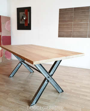 Table Repas De Salle A Manger Sur Mesure Style Industriel En Metal