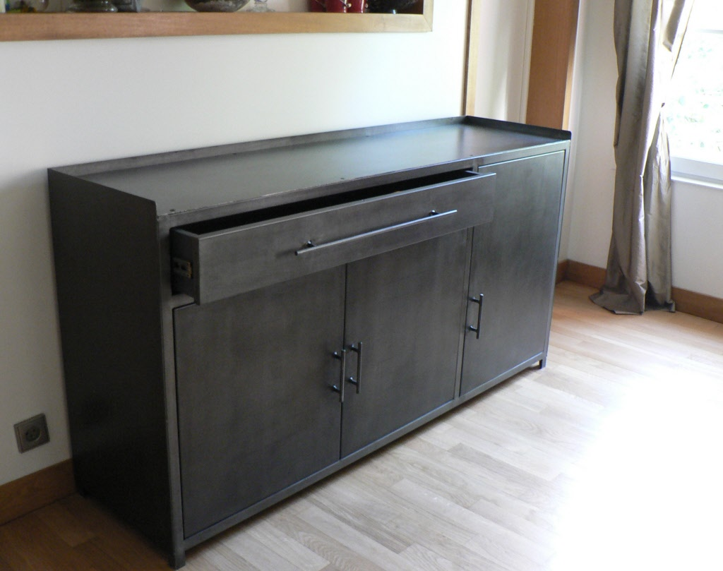 Sideboard Made To Measure Sideboard 2 Sliding Doors # Meuble Tv Moderne Metal