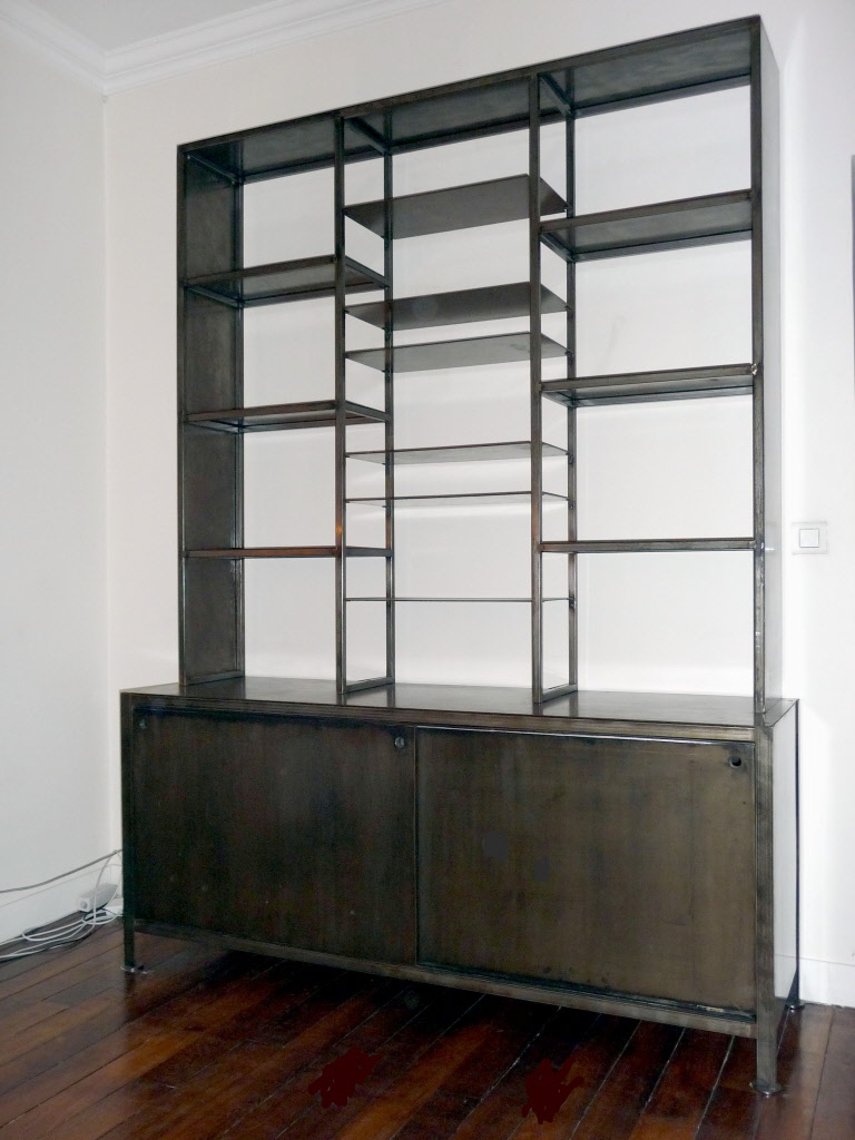 biblioth ques en metal acier et bois patin. Black Bedroom Furniture Sets. Home Design Ideas
