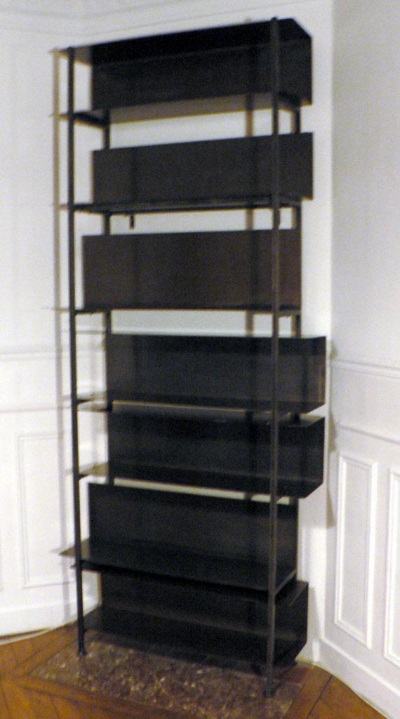 Biblioth ques en metal acier et bois patin - Bibliotheque industriel metal ...