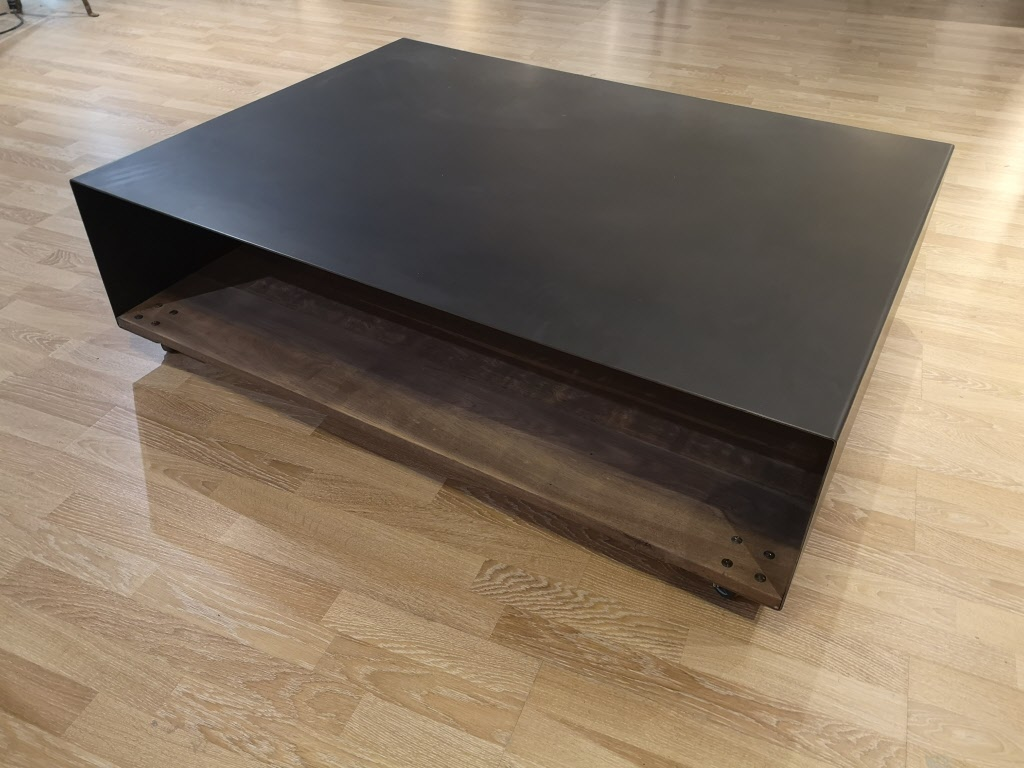 "Grande Table Basse Bois en stock grande table basse double plateau en métal et bois massif ""ultimo"""