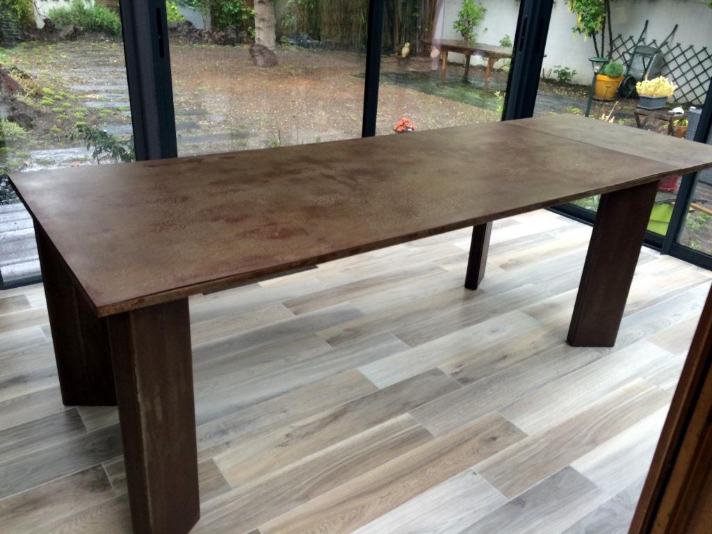 Table Repas 2 Personnes table a rallonges design loft metal et bois