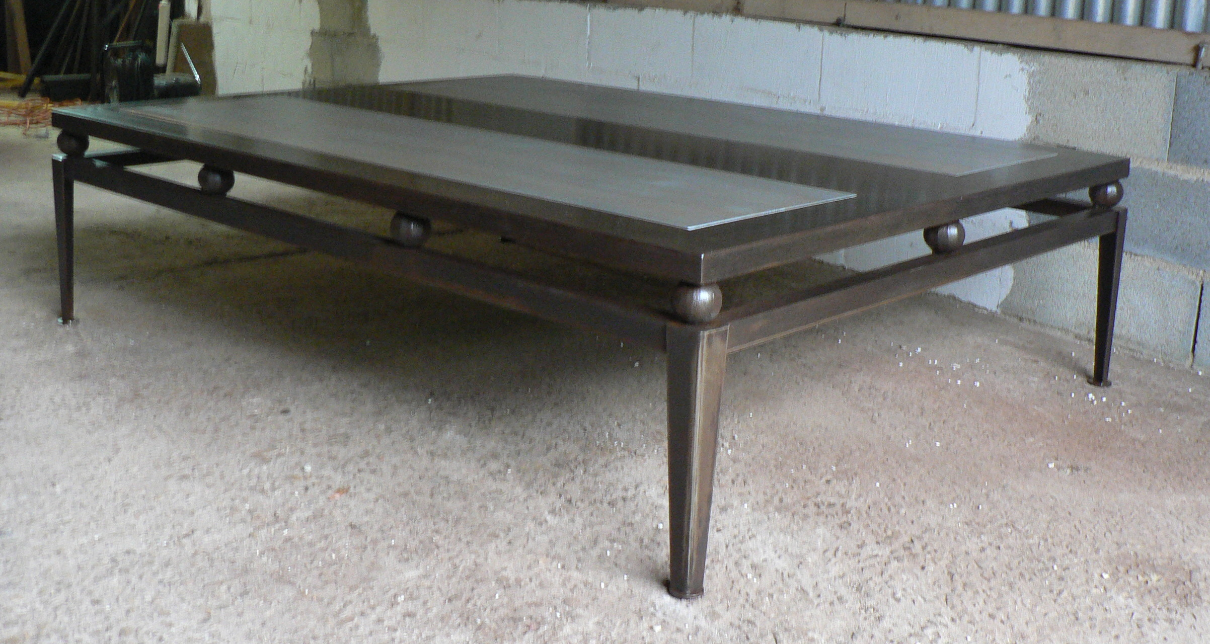 Made to measures steel and wood coffee table for Table basse teck et metal